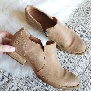 BORN Tan Ankle Boot Shoe, Leather 7.5